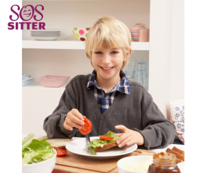 Child making his lunch